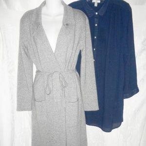 ZARA Long Gray Wool Cardigan M & J CREW Navy Tunic